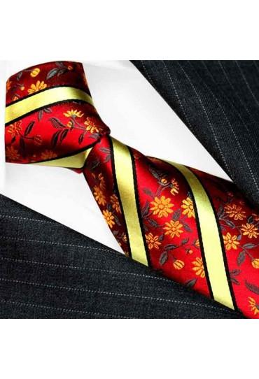 Krawatte für Hochzeit rot gold LORENZO CANA
