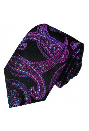 Neck Tie Pure Silk Floral Black For Men LORENZO CANA
