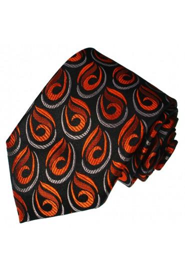Neck Tie Pure Silk Paisley Black For Men LORENZO CANA