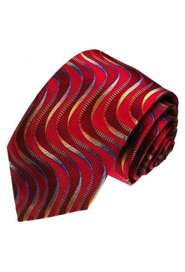 Men's Necktie Pure Silk Waves Crimson LORENZO CANA