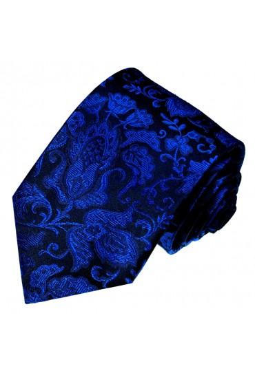 Neck Tie Silk Floral Dark Blue Black LORENZO CANA