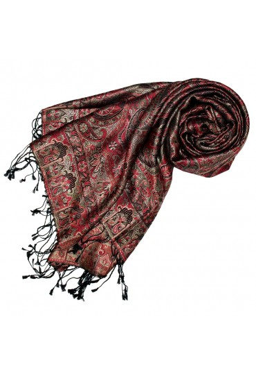 Pashmina 100% Silk Paisley Rust  Grey For Women LORENZO CANA