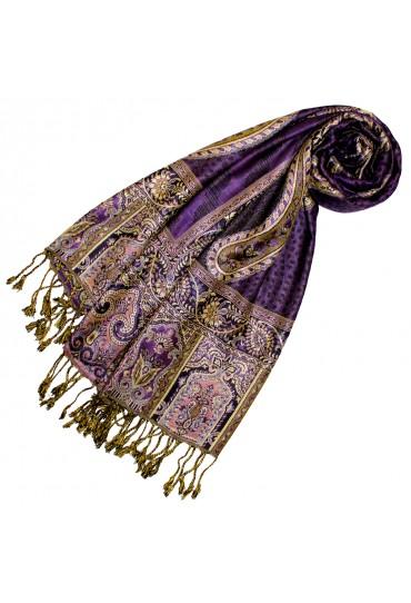 Pashmina 100% Viscose Paisley Purple Gold For Women LORENZO CANA