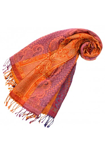 Scarf Wool Paisley Orange Magenta For Women LORENZO CANA