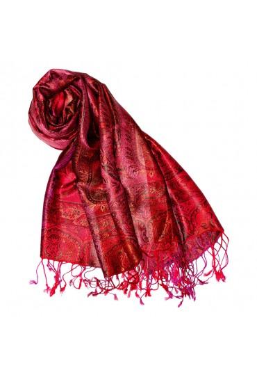 Women's Pashmina 100% Silk Paisley Red Magenta LORENZO CANA