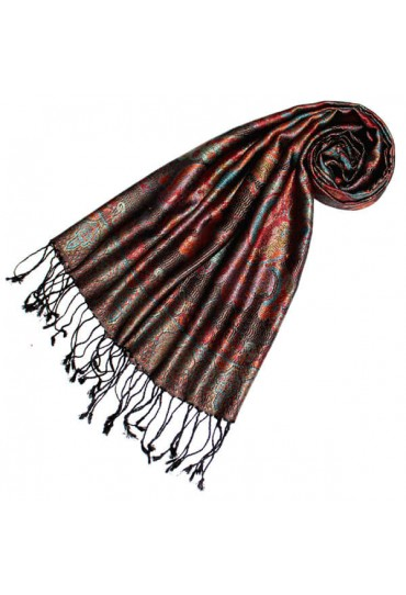 Scarf 100% Silk Paisley Red Blue Black LORENZO CANA