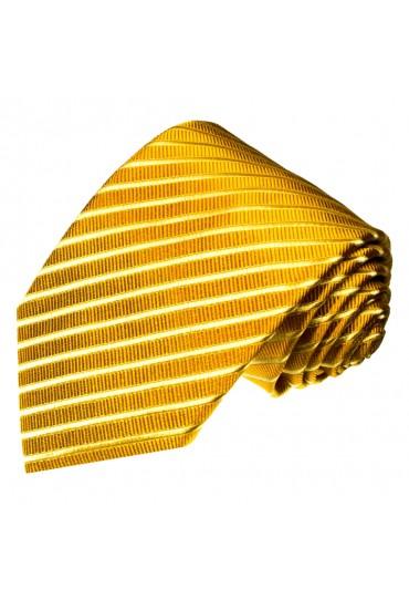 XL Neck Tie 100% Silk Striped Yellow Gold LORENZO CANA