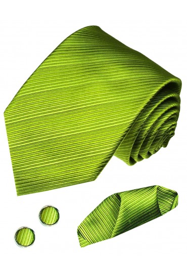 Men's Neck Tie Set 100% Silk Striped Gold LORENZO CANA