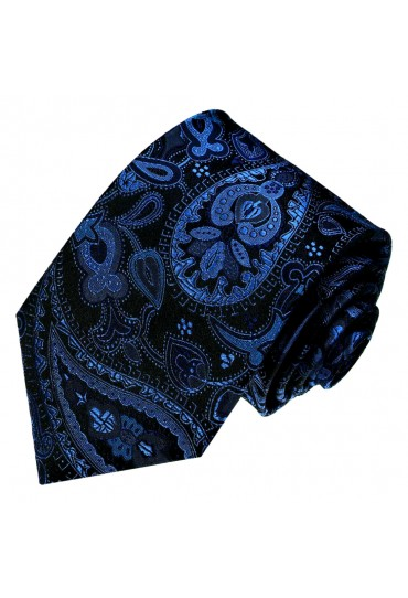 Neck Tie 100% Silk Paisley Dark Blue Black LORENZO CANA