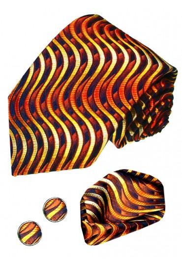 Necktie Set 100% Silk Waves Gold For Men LORENZO CANA