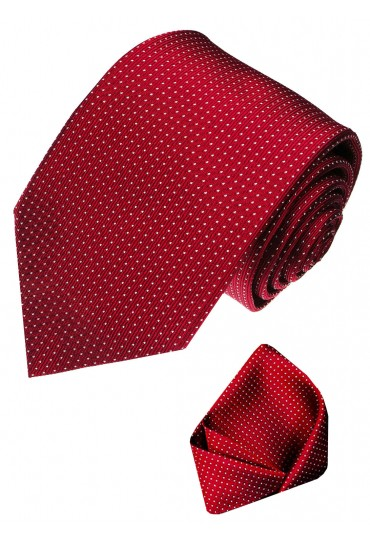 Neck Tie Set 100% Silk Polka Dot Red White LORENZO CANA
