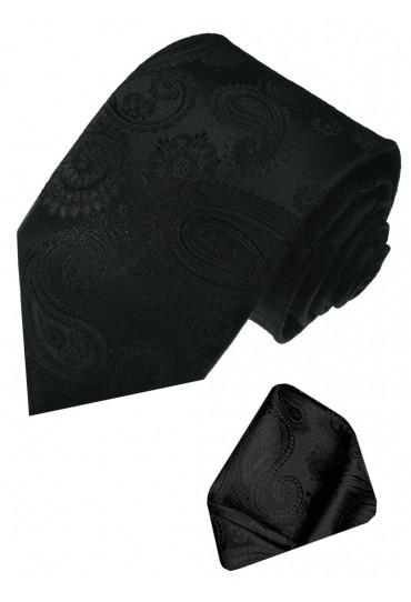 Neck Tie Set 100% Silk Paisley Black Charcoal LORENZO CANA