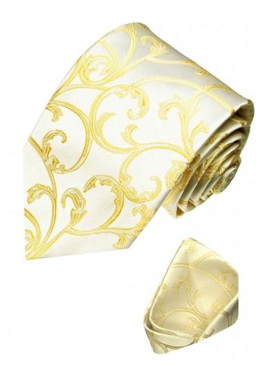 Neck Tie Set 100% Silk Floral Gold Cream LORENZO CANA