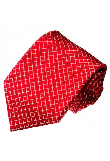 Neck Tie 100% Silk Checkered Red White LORENZO CANA