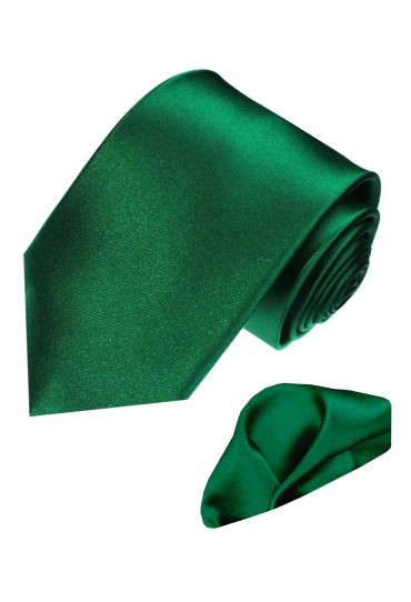 Necktie Set 100% Silk Uni Dark Green LORENZO CANA