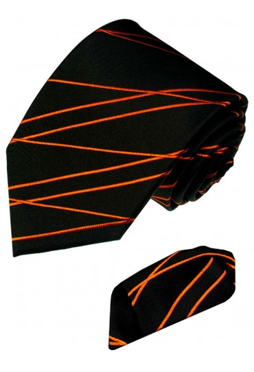 Necktie Set 100% Silk Striped Black Orange LORENZO CANA