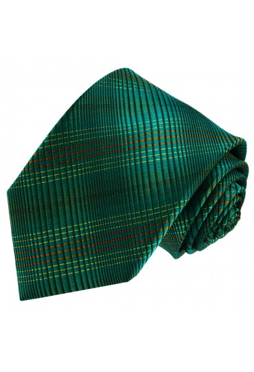 Neck Tie 100% Silk Checkered Green Orange LORENZO CANA