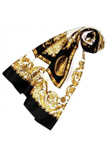 Scarf for Women gold white black silk floral LORENZO CANA