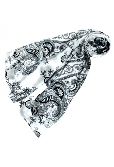 Women's Shawl silver white orange Floral LORENZO CANA