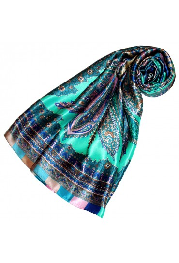 Scarf for Women turquoise rose blue silk floral LORENZO CANA