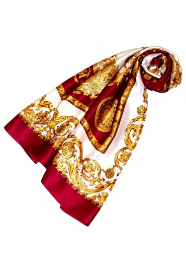 Scarf for women gold white berry silk floral LORENZO CANA