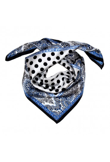 Scarf Women 100% Silk silver black blue grey dots LORENZO CANA