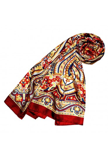 Women's Shawl Red Blue Yellow White Paisley LORENZO CANA