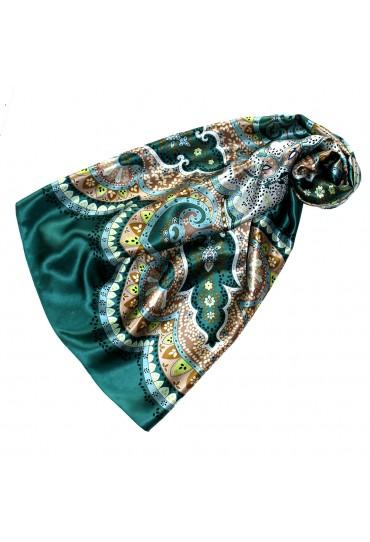 Scarf for Women green turquoise brown beige silk floral LORENZO CANA