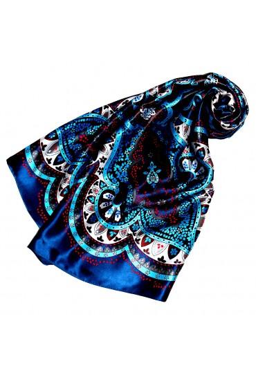 Scarf for Women dark blue silver red silk floral LORENZO CANA