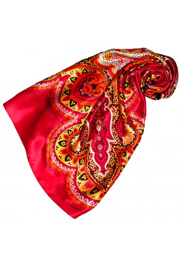 Scarf for Women red berry yellow silk floral LORENZO CANA