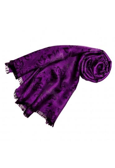 Women's Shawl Viscose Silk Paisley Purple LORENZO CANA