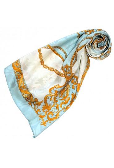 Ladie's Shawl Blue White Gold Silk Floral LORENZO CANA