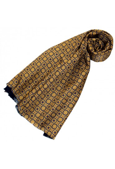 Reversible scarf silk + wool for men Gold LORENZO CANA