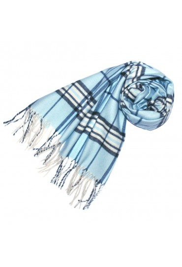 Schal für Herren Polyacryl hellblau Karo LORENZO CANA