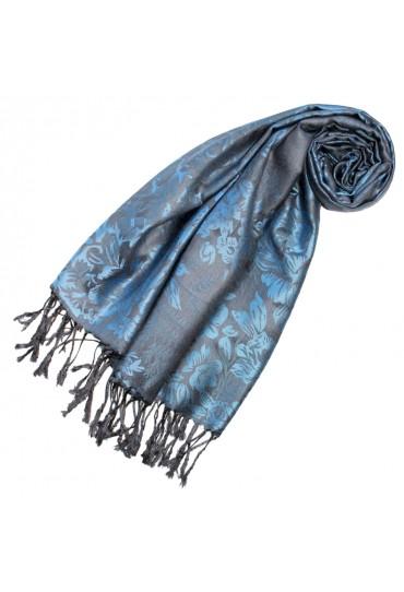 Scarf 100% Modal Blue Black Floral LORENZO CANA