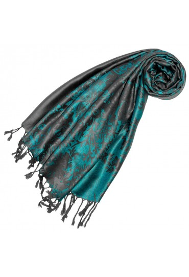 Scarf 100% Modal Turquoise Gray Floral LORENZO CANA