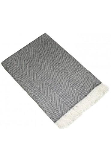 Sofa Blanket 100% Cashmere Grey White Stripe LORENZO CANA