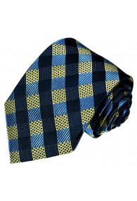 Silk Tie Blue Gold Checked LORENZO CANA