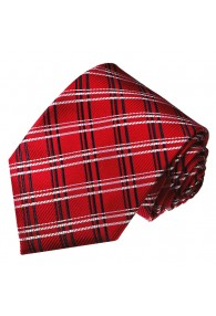 Mens Tie Deep red Checked LORENZO CANA