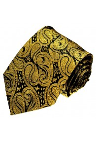 Mens Tie Chic paisley black gold LORENZO CANA