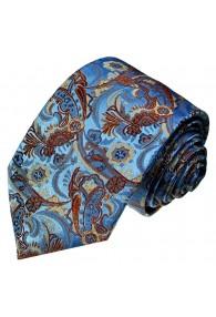 Neck Tie Silk Paisley Blue Rust LORENZO CANA