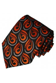 Neck Tie Pure Silk Paisley Black For Men LORENZO CANA