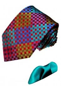 Krawatte 100% Seide Karo bunt Türkis