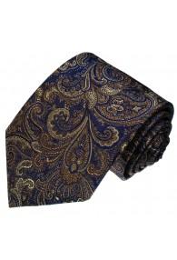 Men's Necktie Pure Silk Paisley Brown Blue LORENZO CANA