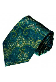 Neck Tie Silk Floral Teal Cyan Green Yellow LORENZO CANA