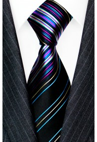 Neck Tie Silk Striped Black Blue Purple LORENZO CANA