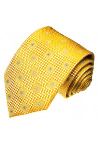 Neck Tie 100% Silk Checkered Gold Yellow LORENZO CANA