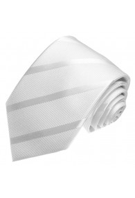 Neck Tie 100% Silk Striped White Silver LORENZO CANA