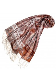 Women's Pashmina 100% Silk Paisley Rust Dark Red LORENZO CANA