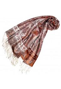 Women's Pashmina 100% Silk Paisley Rust Dark Red LORENZO CANA